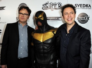 Phoenix Jones with Rainn Wilson and James Gunn