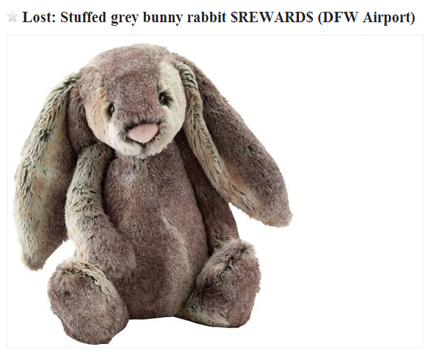 Reward for lost stuffed bunny