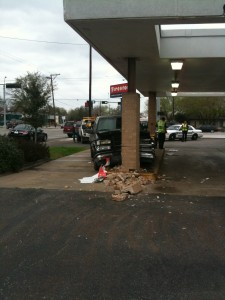 Truck runs into Firestone, Firestone wins