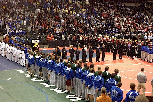 Foley Wrestlers at the State Wrestling Meet at Xcel Energy Center