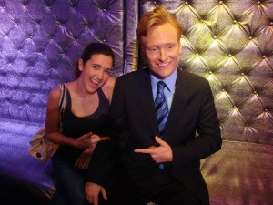 Amelia Sims with Conan O'Brien (Wax Figure)