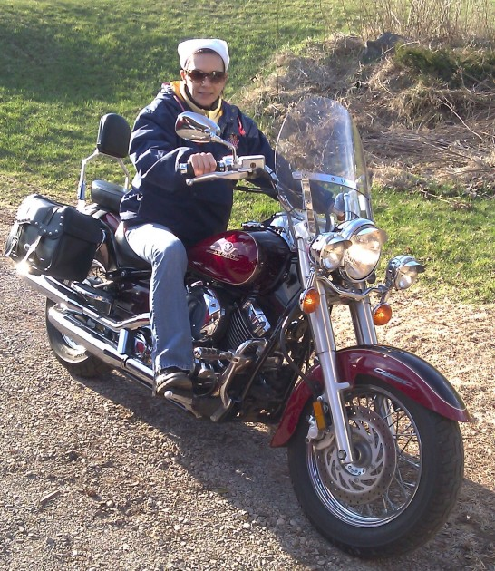 cathy kates on motorcycle