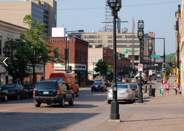 brick paved downtown Duluth street