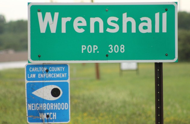 wrenshall-population sign