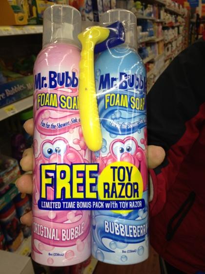 mr bubble foam and TOY razor