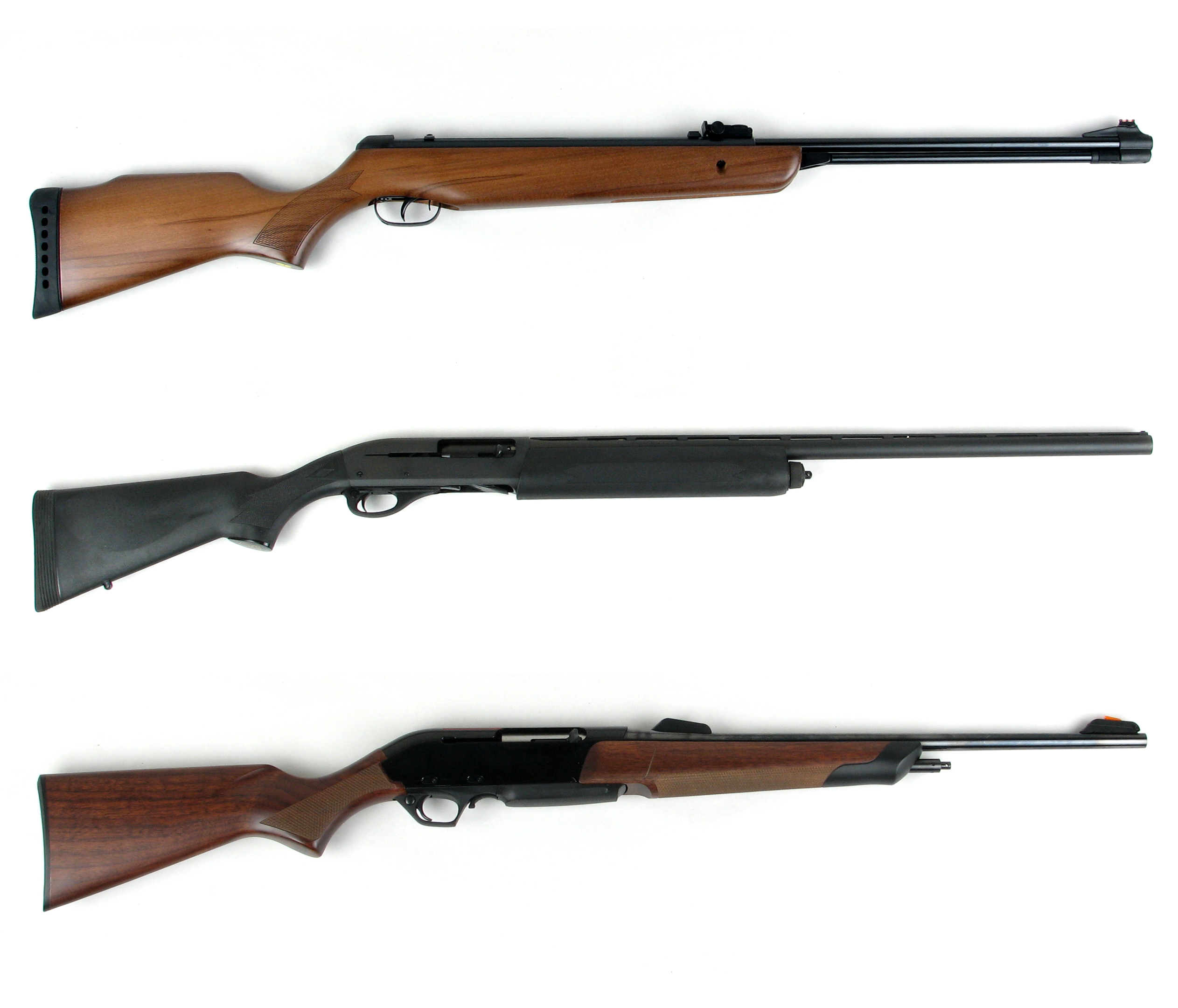Hunting modern rifles and shotgun isolated on white background