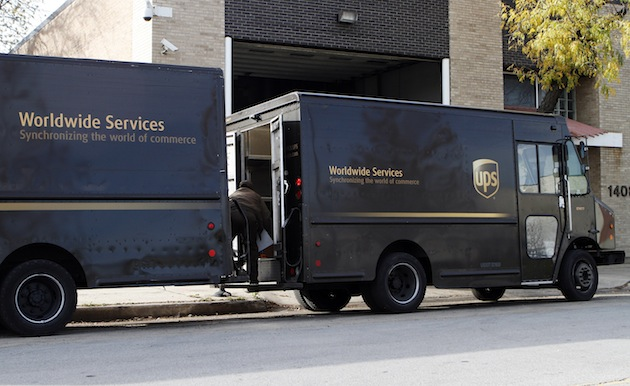 UPS delivering packages