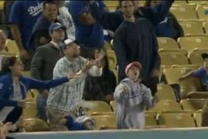 A California dad drops his daughter to catch a foul ball at Dodger's game!