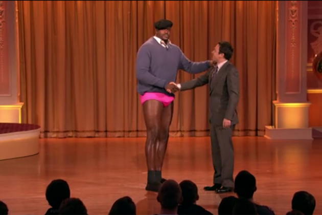 Shaq on Jimmy Fallon in Pink Speedo