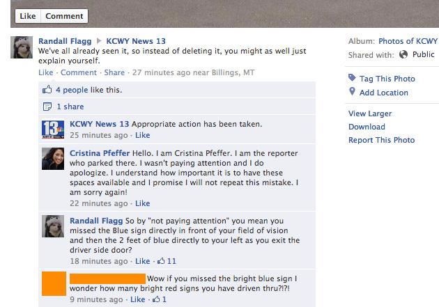 News 13 Reporter Cristina Pfeffer Responds to Handicap Parking Photo
