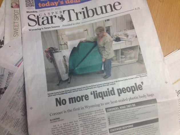 "Casper Star-Tribune ""No More 'Liquid People'"" Front Page Article"
