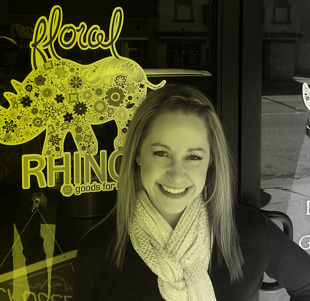 Megan Martin, 'Wind City Smiles' Photo Contest Winner, In Front of Floral Rhino