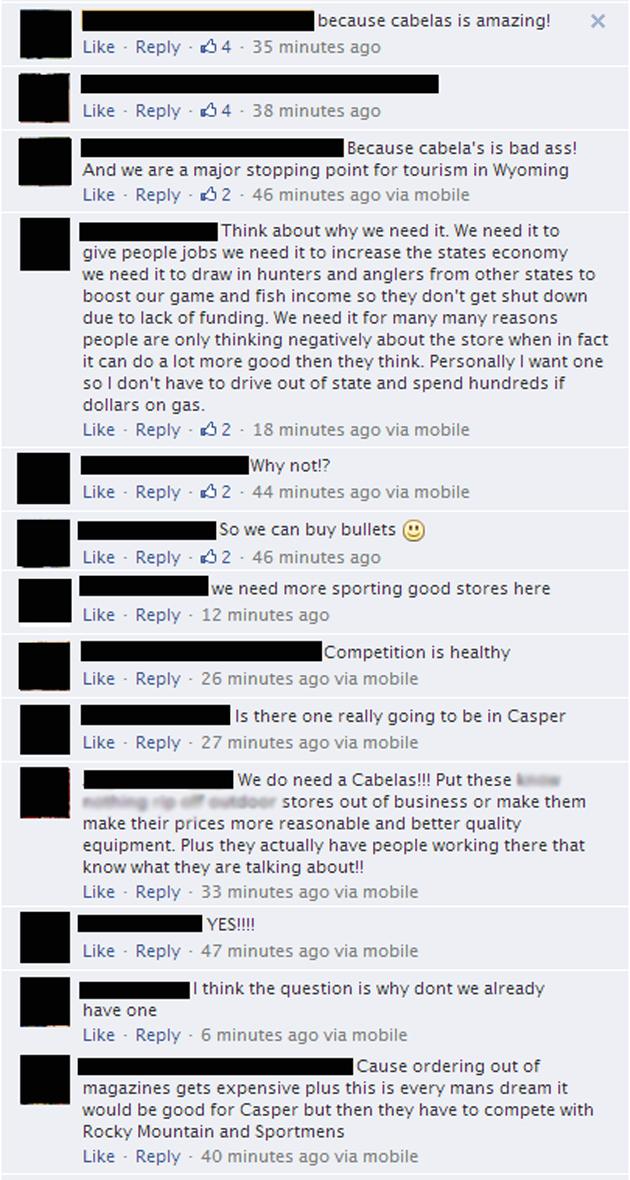 Cabela's Facebook Responses