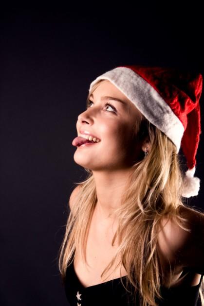 babe in santa hat