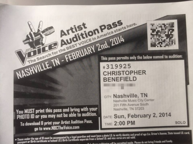 the voice audition pass chris benefield