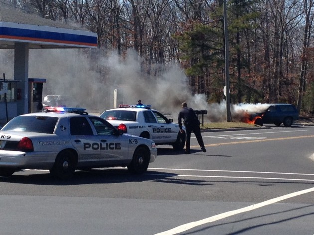 Car catches fire outside Egg Harbor Township gas station