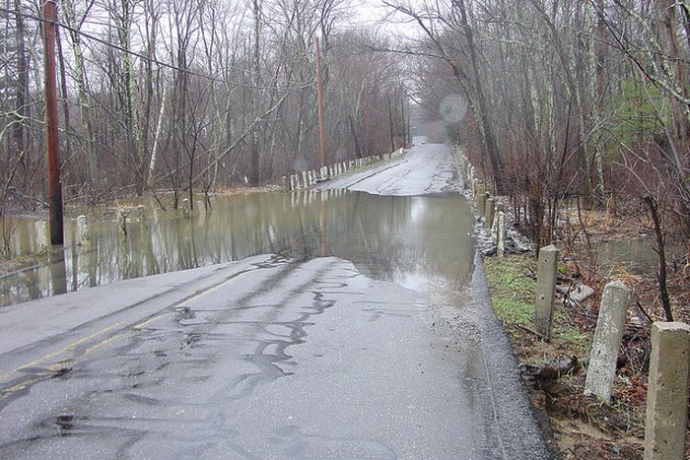 Flooded road off of Route 2