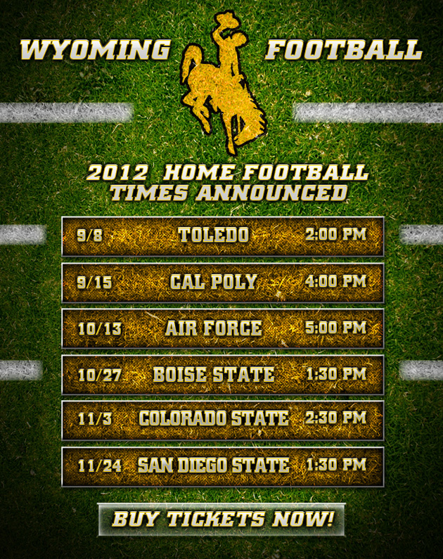 University of Wyoming 2012 Schedule