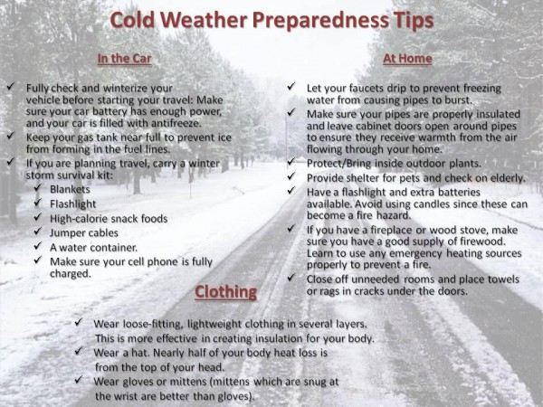 Here is a list of tips to get through this winter weather