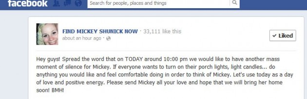 Find Mickey Shunick Now Facebook Page
